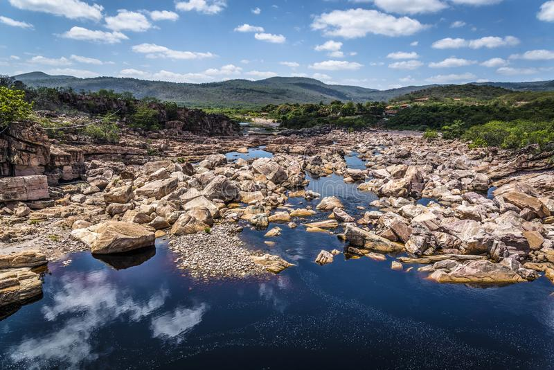 Paraguacu flod, Chapada Diamantina, Bahia, Brasilien royaltyfria foton