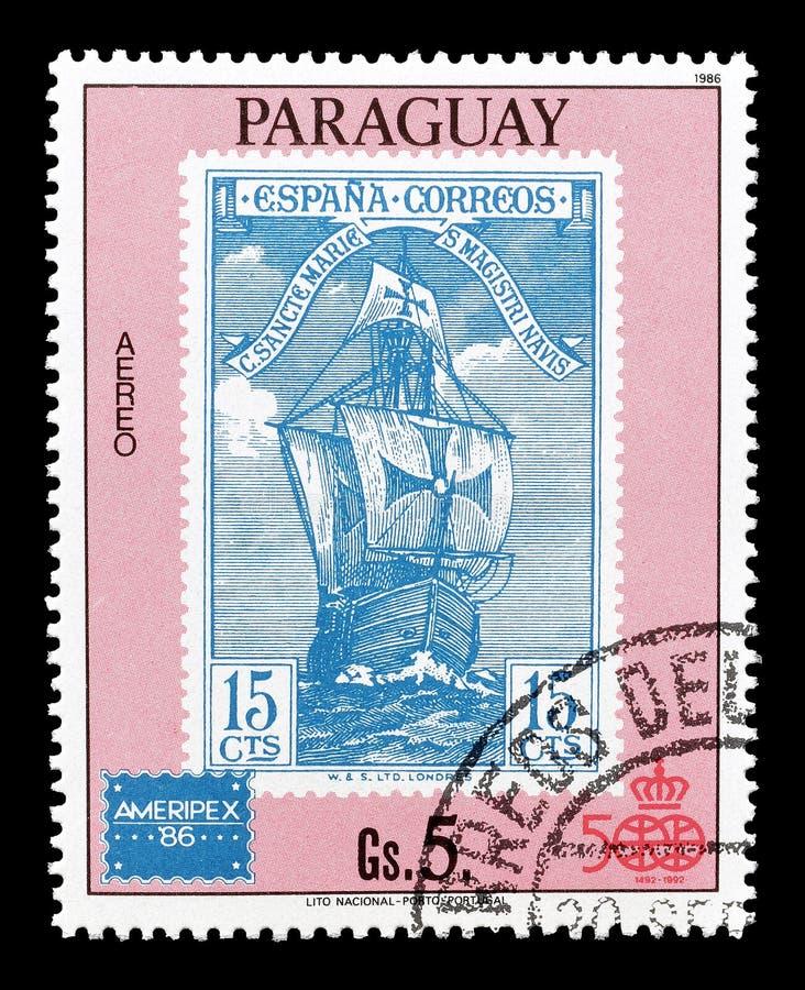 Paraguai em selos postais imagens de stock royalty free