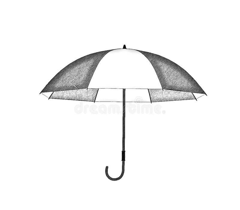 Paraguas abierto aislado en el fondo blanco Illustratio del bosquejo ilustración del vector