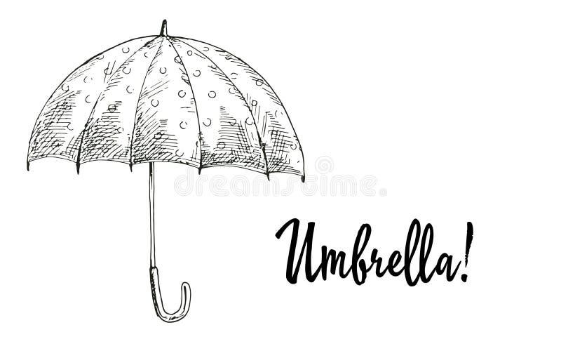 Paraguas abierto contorneado aislado en el fondo blanco Ejemplo estacional de la colección del otoño stock de ilustración