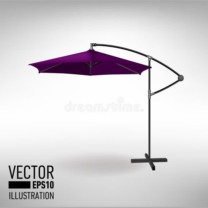 Paraguas abierto de la púrpura para el café del jardín y de la playa Ilustración del vector fotos de archivo libres de regalías