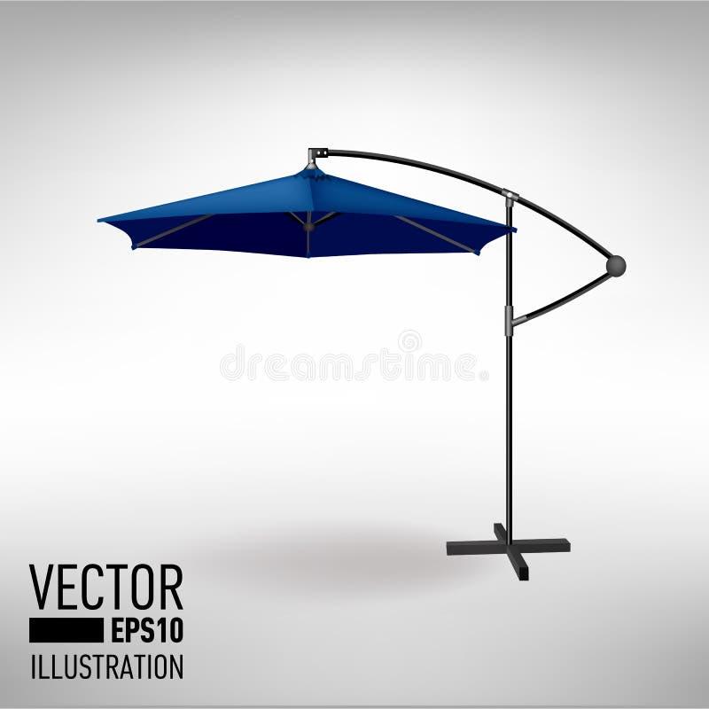 Paraguas abierto del azul para el café del jardín y de la playa imagenes de archivo
