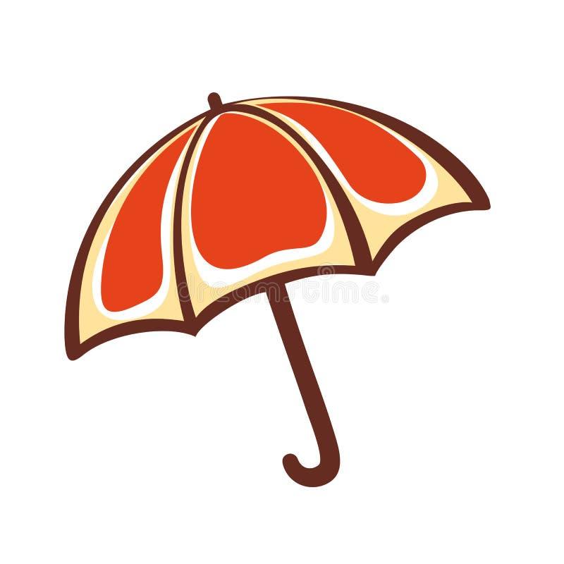 Paraguas anaranjado emblema pictogram icono ilustración del vector