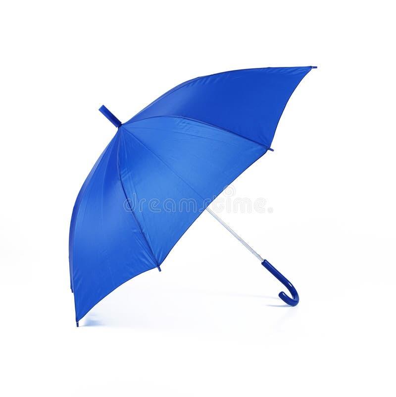 Paraguas azul aislado en el fondo blanco imágenes de archivo libres de regalías