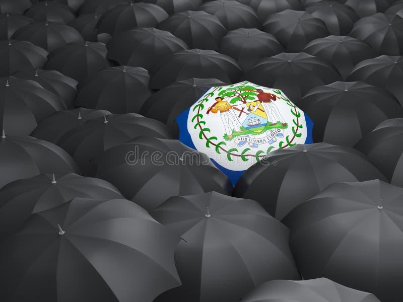 Paraguas con la bandera de Belice stock de ilustración