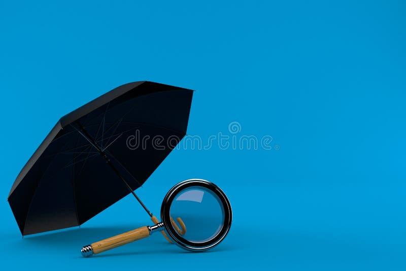 Paraguas con la lupa ilustración del vector