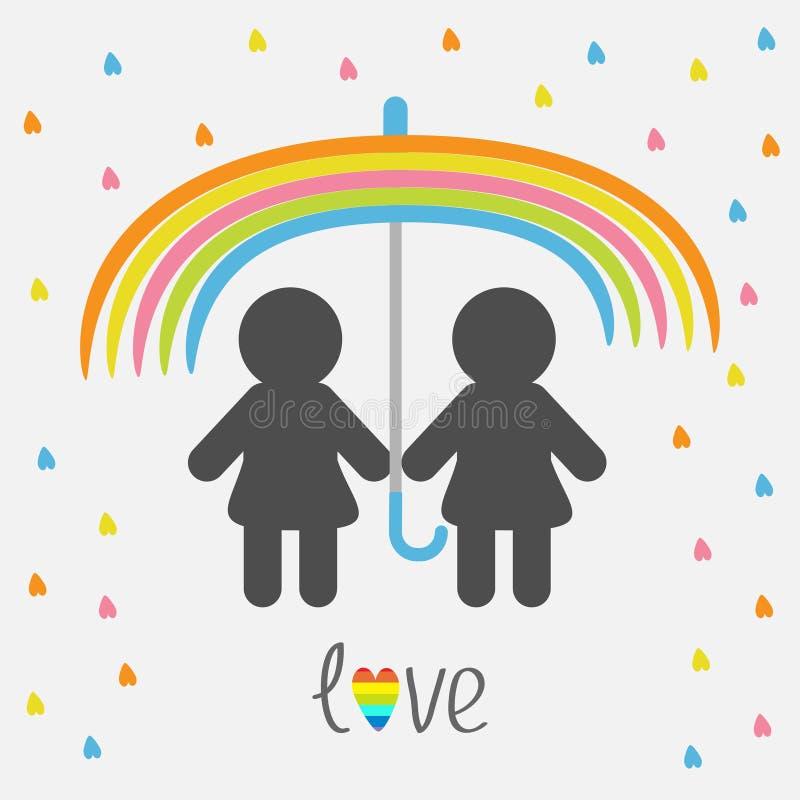 Paraguas del arco iris, lluvia del corazón Icono de la silueta LGBT de la mujer del símbolo dos del orgullo del matrimonio homose stock de ilustración