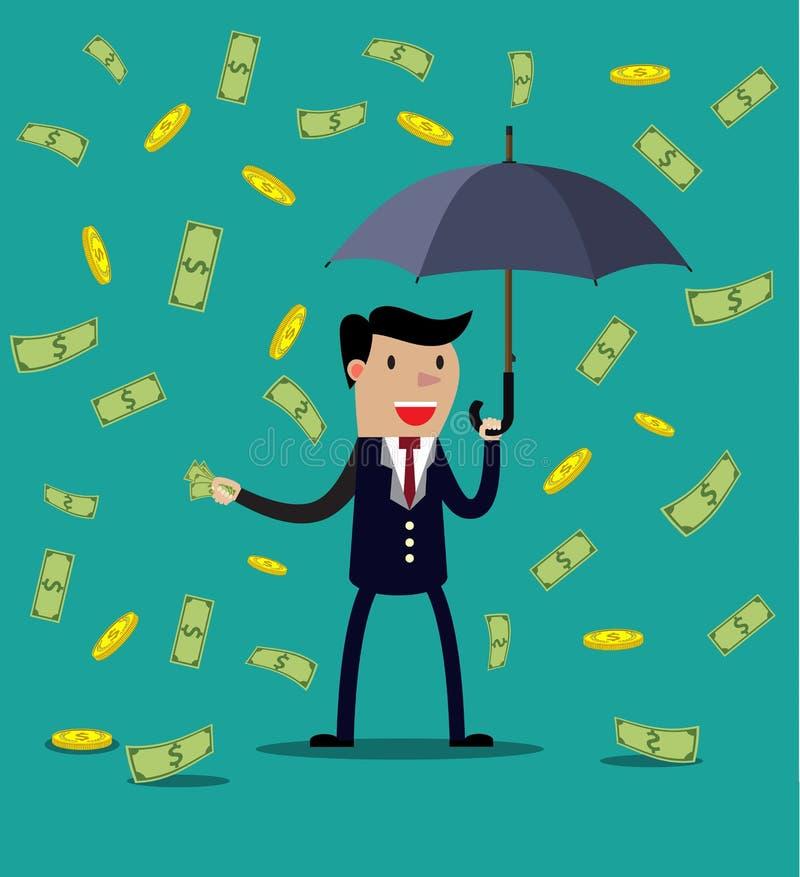 Paraguas del control del hombre de negocios ilustración del vector