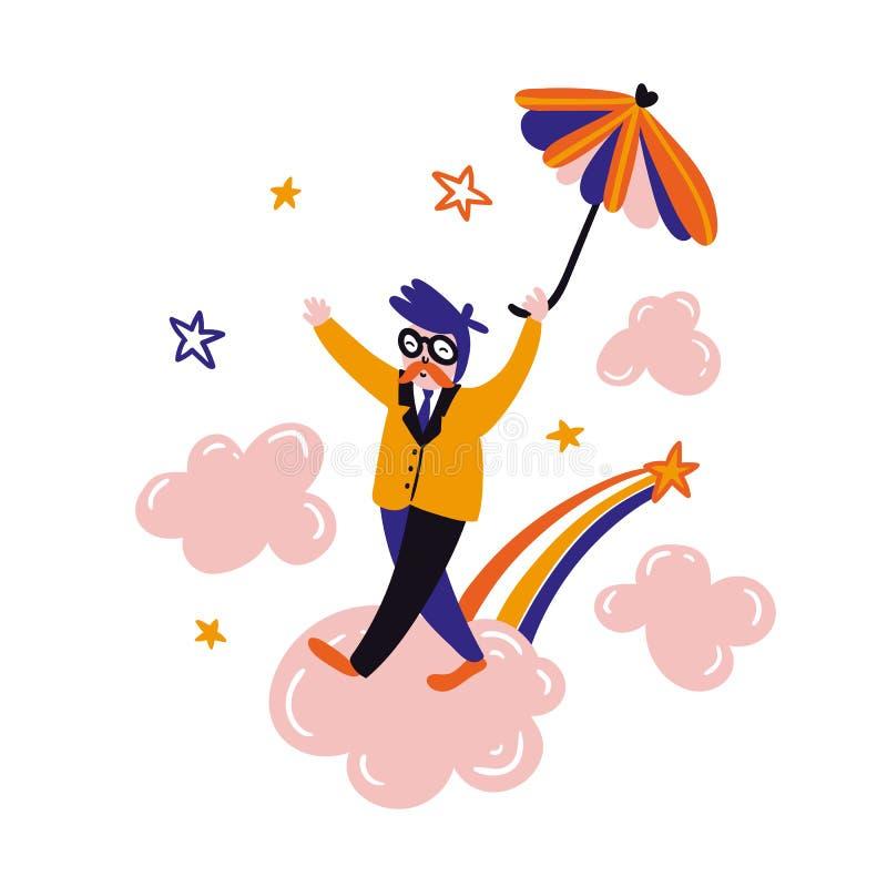 Paraguas del vuelo del soñador Relaje el diseño de tarjeta Oficinista lindo del vector que camina en las nubes rosadas stock de ilustración