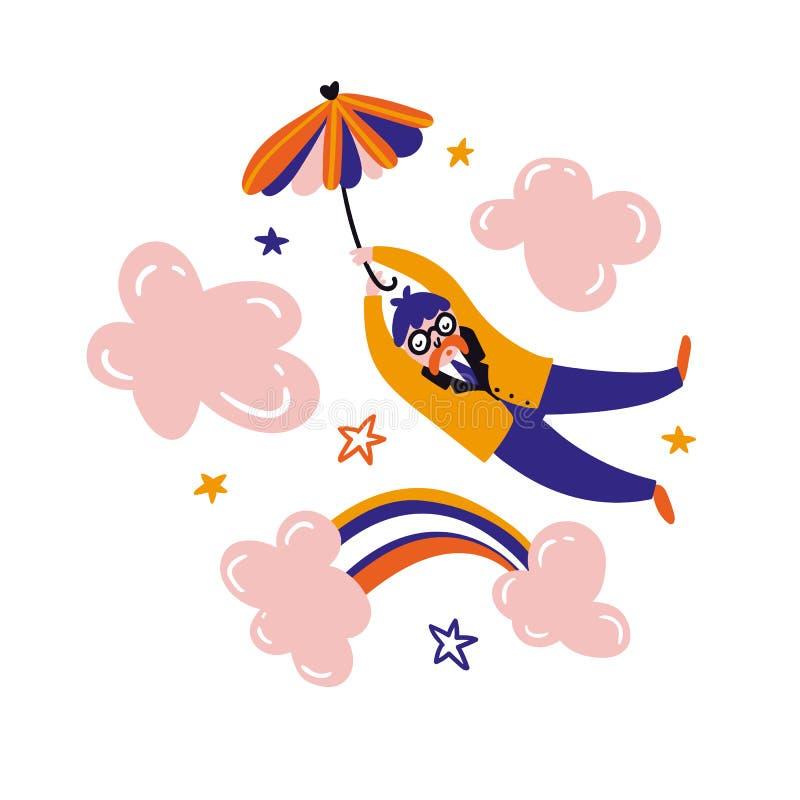Paraguas del vuelo del soñador Relaje el diseño de tarjeta Oficinista del vector que camina en las nubes rosadas ilustración del vector