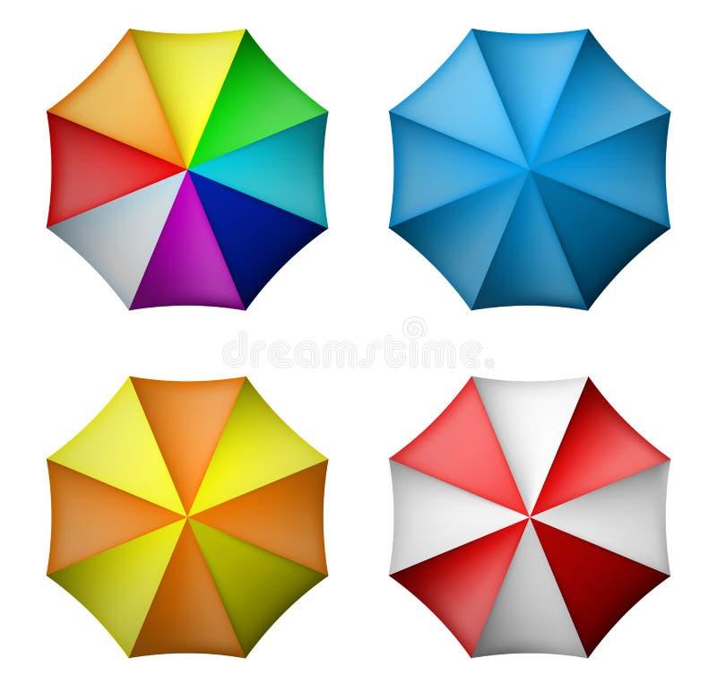 Paraguas fijado de la visión superior stock de ilustración
