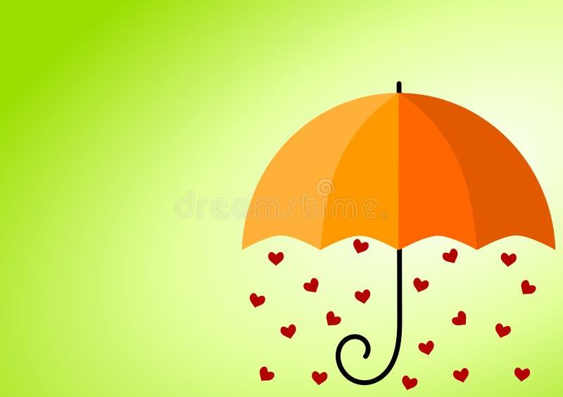 Paraguas lluvioso de los corazones ilustración del vector