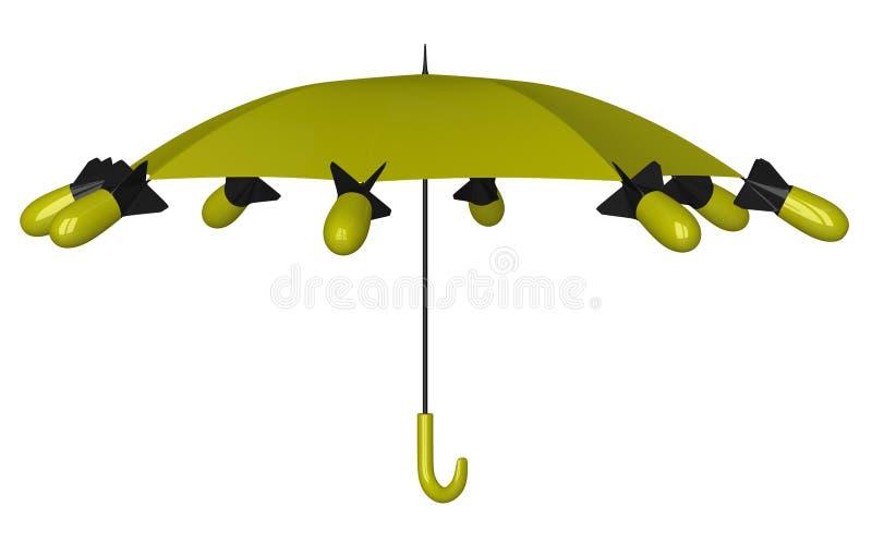 Paraguas nuclear stock de ilustración