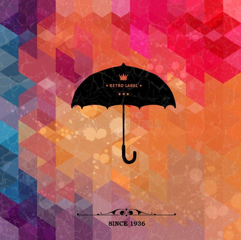 Paraguas retro en fondo geométrico colorido stock de ilustración