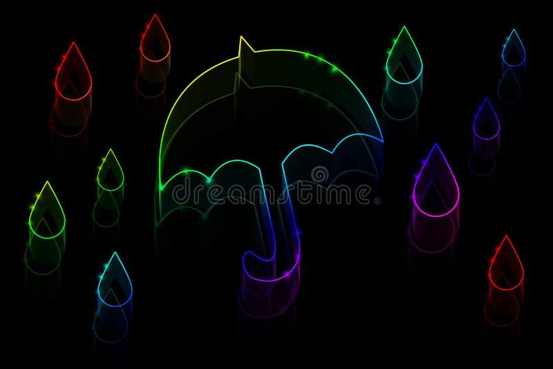 Paraguas y lluvia de neón stock de ilustración