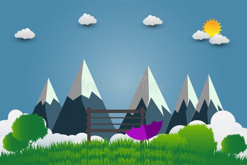 Paraguas y silla, montañas con puestas del sol hermosas sobre las nubes Ilustración del vector libre illustration