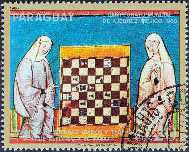 PARAGUAY - CIRCA 1980: A stamp printed in Paraguay shows Two women in robes, chess board, circa 1980. PARAGUAY - CIRCA 1980: A stamp printed in Paraguay from stock photo