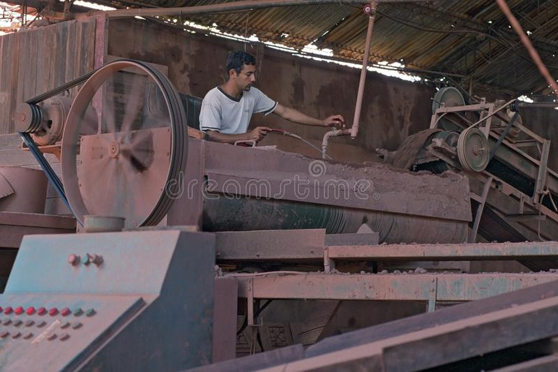 Paraguayan worker at work in bricks factory royalty free stock images