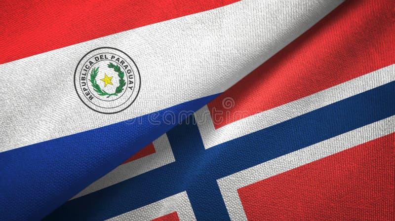 Paraguay en Noorwegen twee vlaggen textieldoek, stoffentextuur royalty-vrije illustratie