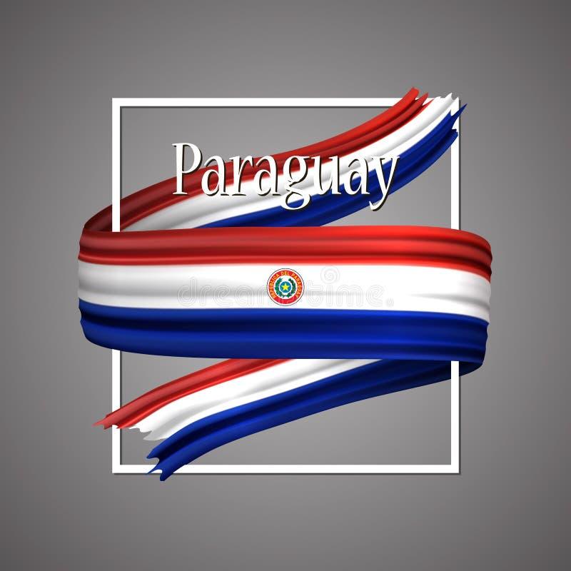 paraguay för bakgrundsflaggaillustration white Officiella medborgarefärger Paraguayanskt realistiskt band för band 3d Bakgrund fö stock illustrationer