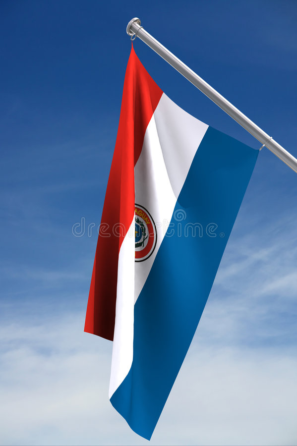 Paraguay Flag. With clipping path, against a blue sky with clouds stock photography