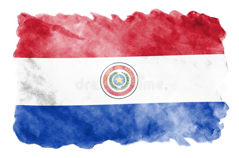 Paraguay flag is depicted in liquid watercolor style isolated on white background. Careless paint shading with image of national flag. Independence Day banner royalty free illustration