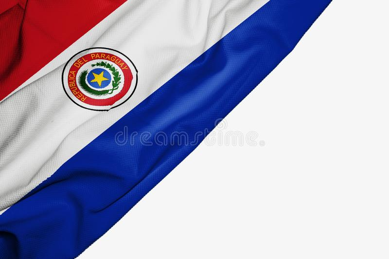 Paraguay flag of fabric with copyspace for your text on white background. South america banner best blue capital colorful competition country ensign free royalty free illustration