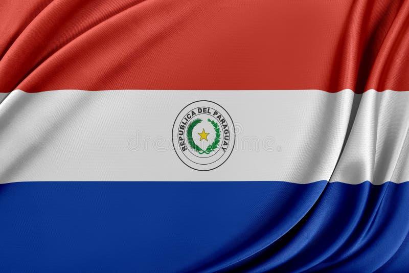 Paraguay flagga med en glansig siden- textur stock illustrationer