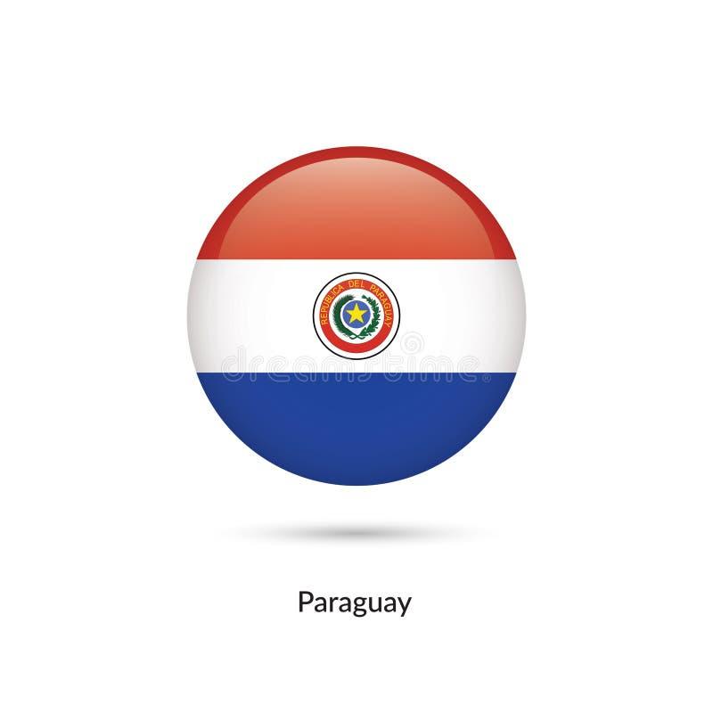 Paraguay flagga - rund glansig knapp vektor illustrationer