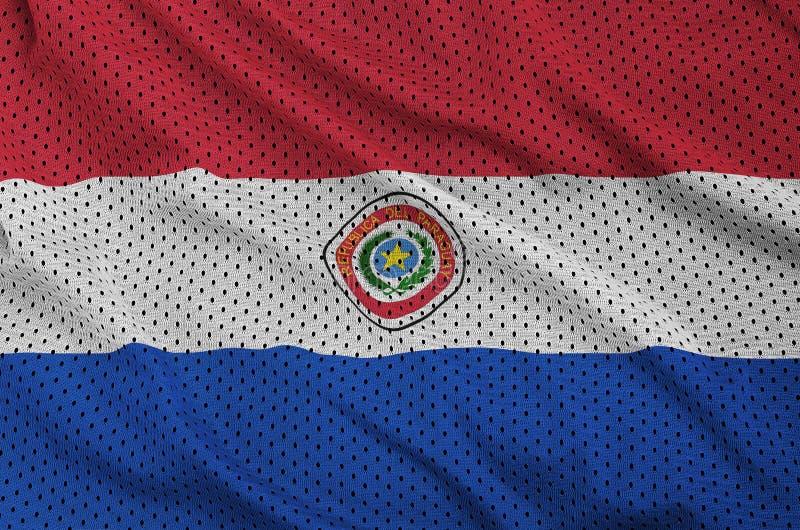 Paraguay flagga som skrivs ut på en fabri för ingrepp för polyesternylonsportswear arkivfoto