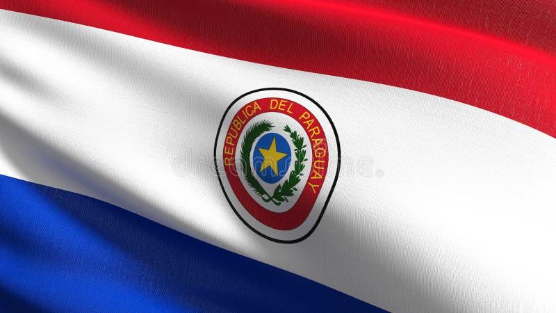 Paraguay flagi państowowej dmuchanie w wiatrze odizolowywającym Oficjalny patriotyczny abstrakcjonistyczny projekt 3D renderingu  royalty ilustracja