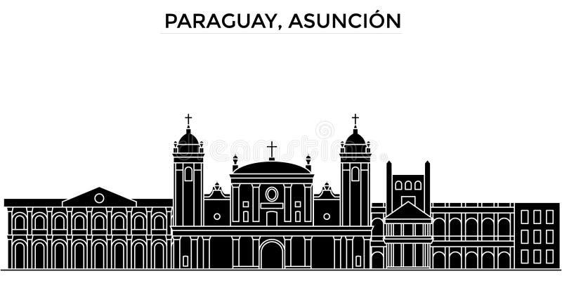 Paraguay, horizon van de de architectuur de vectorstad van Asuncion, zwarte cityscape met oriëntatiepunten, geïsoleerde gezichten stock illustratie