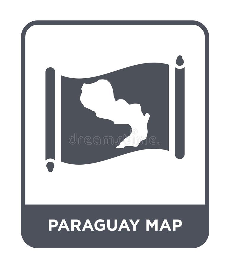 Paraguay map icon in trendy design style. paraguay map icon isolated on white background. paraguay map vector icon simple and. Modern flat symbol for web site stock illustration