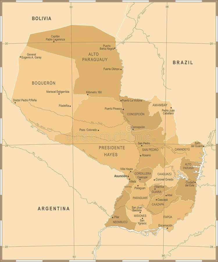 Paraguay Map - Vintage Detailed Vector Illustration. Paraguay Map - Vintage High Detailed Vector Illustration royalty free illustration