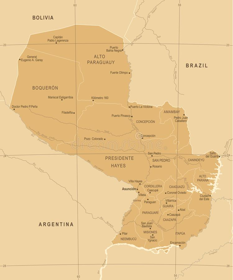 Paraguay Map - Vintage Detailed Vector Illustration. Paraguay Map - Vintage High Detailed Vector Illustration vector illustration