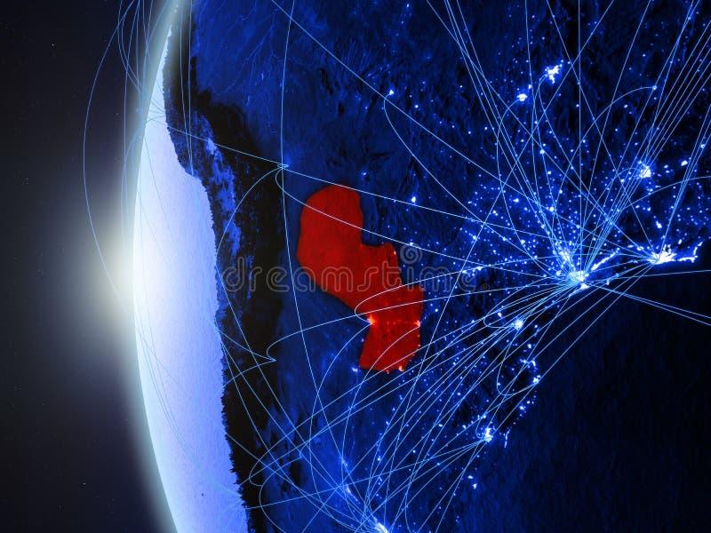 Paraguay op blauwe Aarde met netwerk stock illustratie