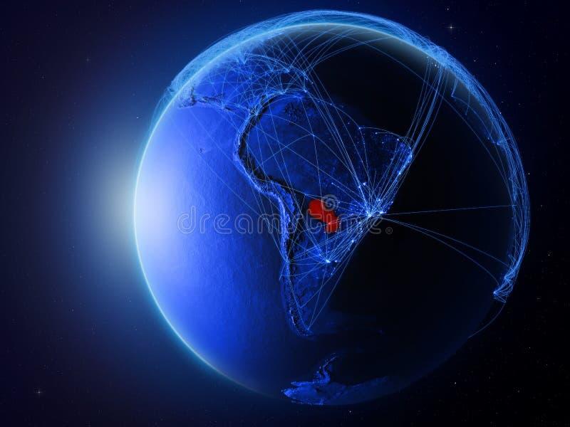Paraguay op blauwe Aarde met netwerk vector illustratie