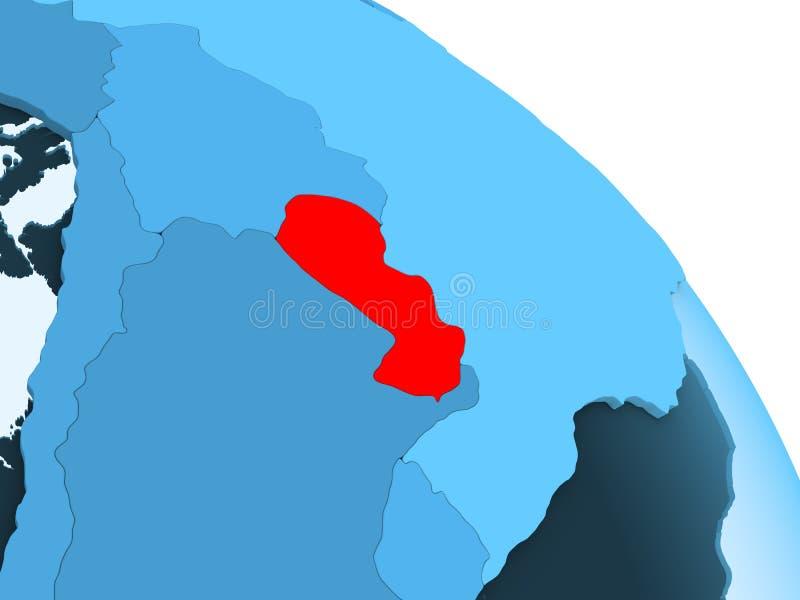 Paraguay op blauwe bol royalty-vrije illustratie