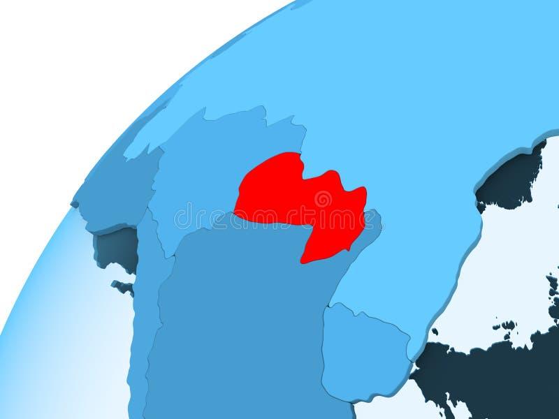 Paraguay op blauwe bol stock illustratie
