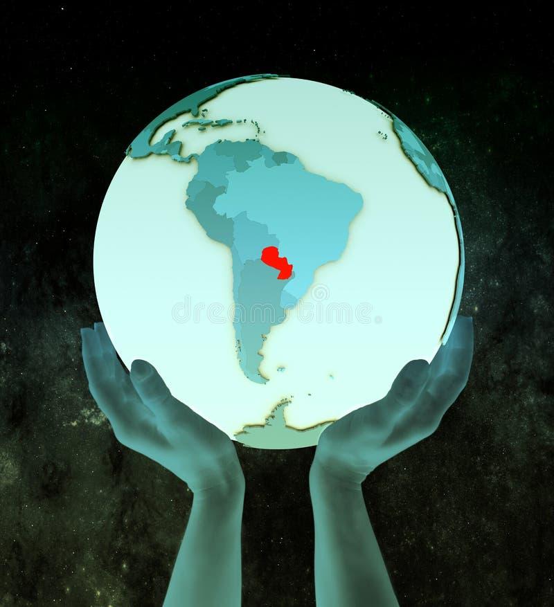Paraguay op blauwe bol in handen stock illustratie