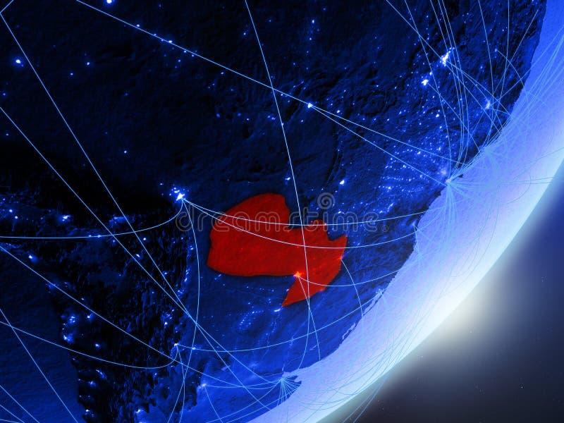 Paraguay op blauwe blauwe digitale Aarde stock illustratie