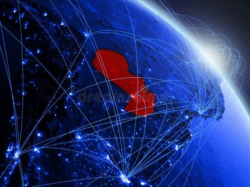Paraguay op blauwe blauwe digitale bol vector illustratie