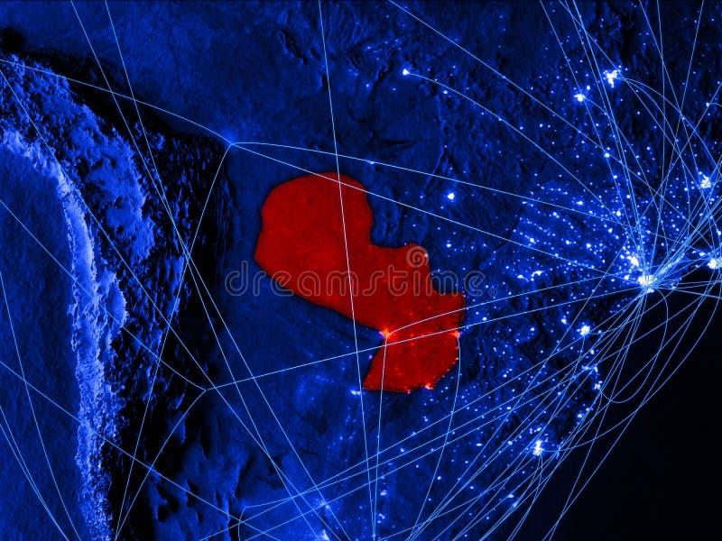 Paraguay op blauwe digitale kaart met netwerken Concept internationale reis, mededeling en technologie 3D Illustratie vector illustratie