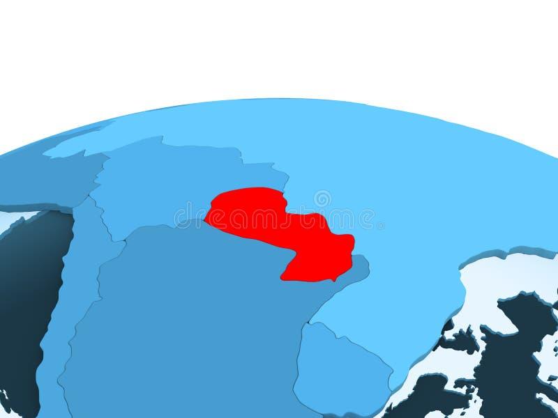 Paraguay op blauwe politieke bol stock illustratie