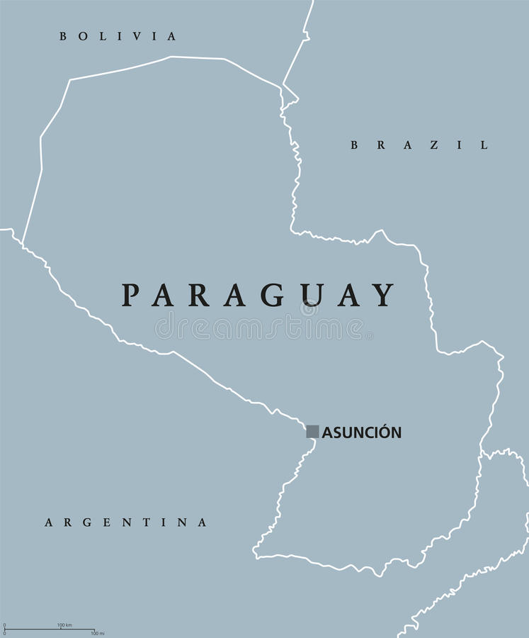Paraguay political map stock vector Illustration of landlocked
