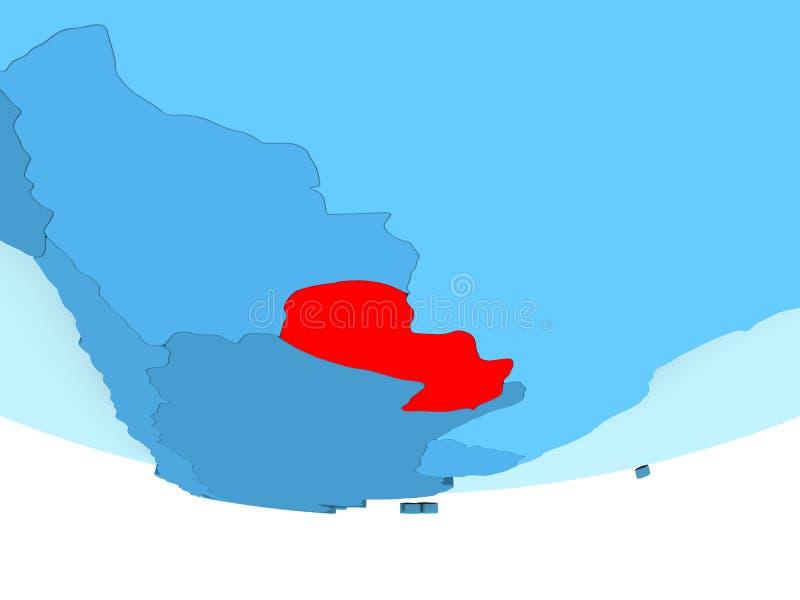 Paraguay in rood op blauwe kaart stock illustratie