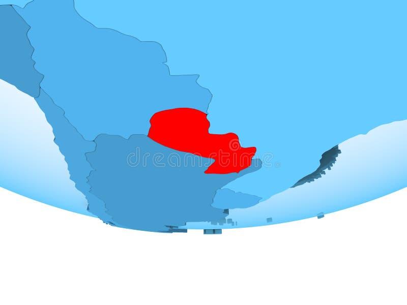 Paraguay in rood op blauwe kaart royalty-vrije illustratie