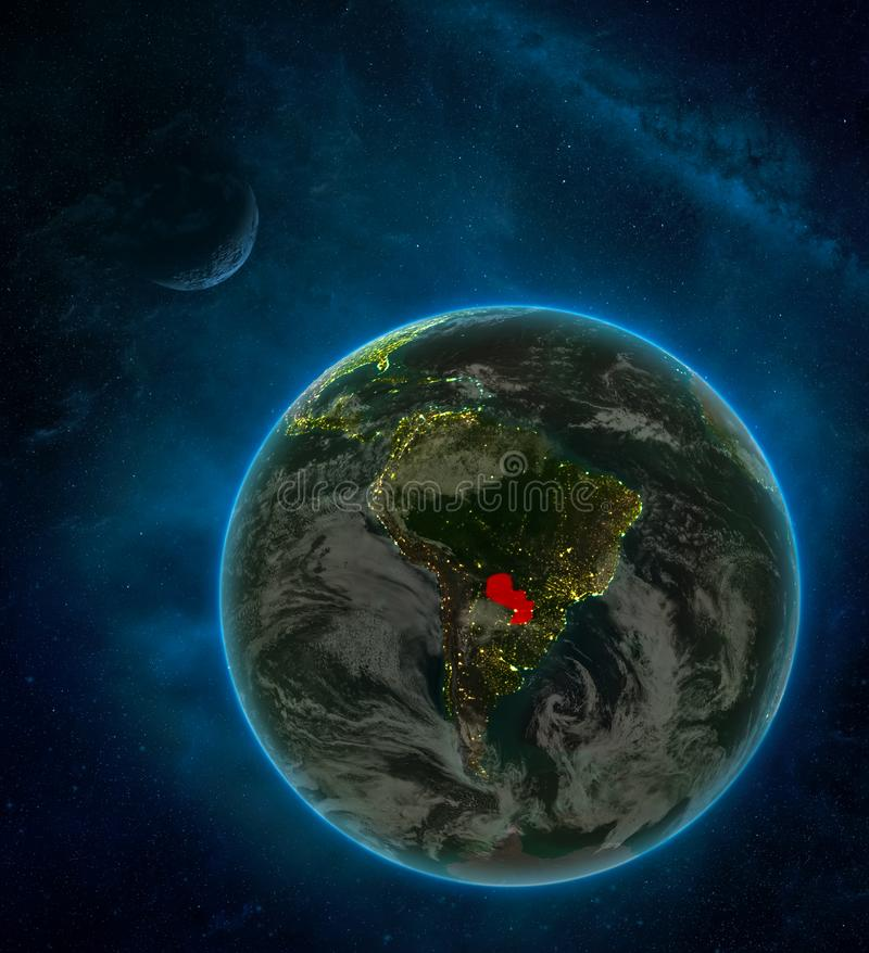 Paraguay from space on Earth at night surrounded by space with Moon and Milky Way. Detailed planet with city lights and clouds. 3D. Illustration. Elements of stock illustration