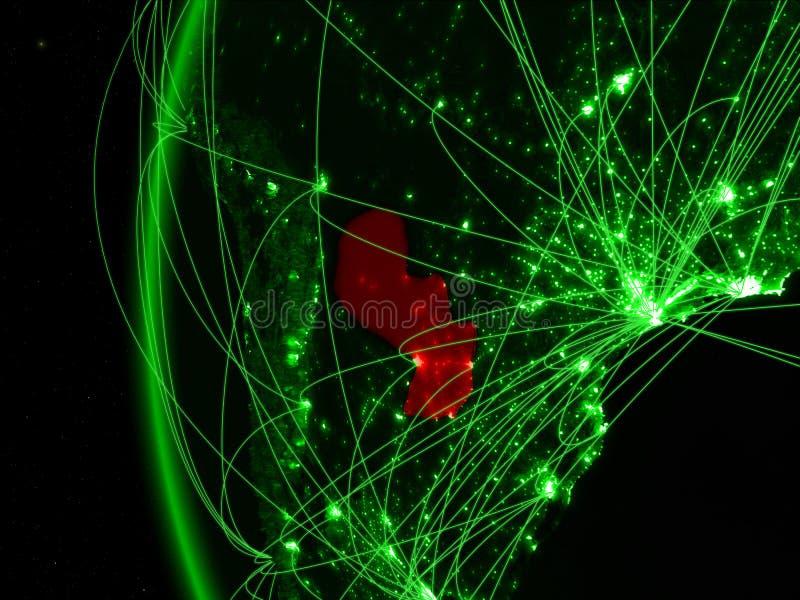 Paraguay van ruimte op groen model van Aarde met internationale netwerken Concept groene mededeling of reis 3D Illustratie stock afbeelding