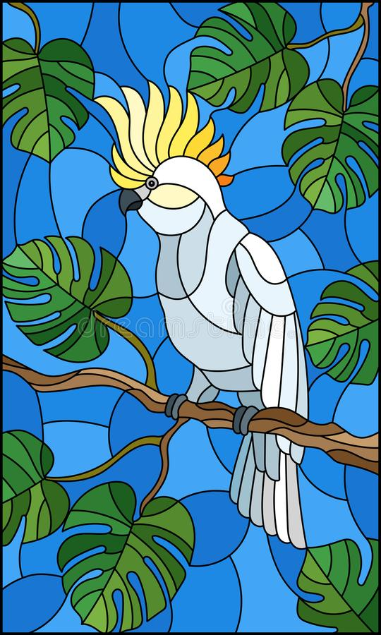 Parakiter för kakadua för målat glassillustrationfågel vit på tropiskt träd för filial mot himlen vektor illustrationer